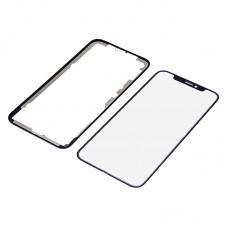 Стекло тачскрина  для APPLE  iPhone X чёрное с рамкой