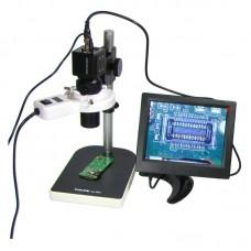 """Видеомикроскоп с монитором 8""""  BAKU  BA-003 (подсветка люминесцентная, фокус 30-156 мм, кратность увеличения 200X, 14мП)"""