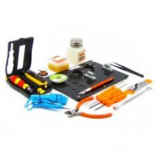 Монтажный столик с набором инструментов JAKEMY JM-1101 (магнитные держатели, флюс, оплётка, ёмкость для спирта, кусачки, пинцет, лопатки, отвёртки)