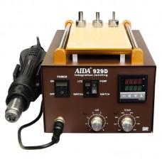 """Паяльная станция AIDA 929D со встроенным вакуумным сепаратором 9"""" (20 x 11 см), фен с аналоговой регулировкой"""