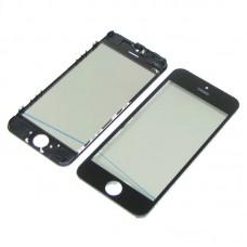 Стекло тачскрина  для Apple  iPhone 5C чёрное с рамкой, OCA и поляризационной плёнкой HC