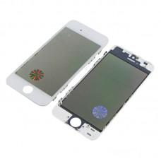 Стекло тачскрина  для Apple  iPhone 5S белое с рамкой, OCA и поляризационной плёнкой HC