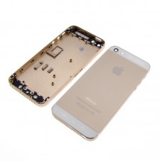 Корпус  для APPLE  iPhone 5 золотистый, с белыми вставками, в комплекте с SIM-держателем и кнопками