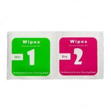 Салфетки для поклейки защитного стекла    комплект 2 шт, влажная 5 х 5 см, сухая 5 х 5 см (500 комплектов/ 1 уп.)