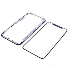 Стекло тачскрина  для Apple  iPhone X чёрное с рамкой и OCA плёнкой HC