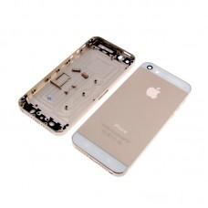 Корпус  для APPLE  iPhone 5S золотистый с белыми вставками, в комплекте с SIM-держателем и кнопками