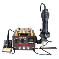 """Паяльная станция AIDA 939D со встроенным вакуумным сепаратором 9"""" (20 x 11 см), фен, паяльник, третья рука"""