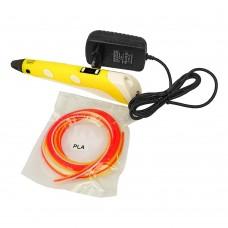 3D ручка с LCD дисплеем XHY-02 12B/2А, сопло 0.6 мм, темп. 200-235 гр С, контроль скорости, ABS/PLA 1.75 мм жёлтая