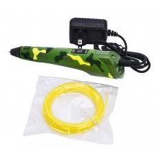 3D ручка с LCD дисплеем 3042-1H 5B/2А, сопло 0.6 мм, темп. 160-235 гр С, контроль скорости, ABS/PLA 1.75 мм камуфляж