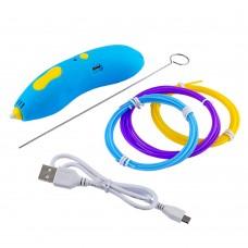 3D ручка 668-Z 5B/2А, USB, сопло 0.6 мм, темп. 75гр С, PCL 1.75 мм, со встроенным аккумулятором синяя