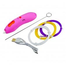 3D ручка 668-Z 5B/2А, USB, сопло 0.6 мм, темп. 75гр С, PCL 1.75 мм, со встроенным аккумулятором розовая