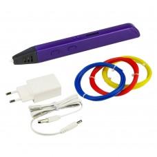 3D ручка с LED дисплеем D6/RP800A 5В/2А, сопло 0.6 мм, темп. 130-230 гр С, контроль скорости, ABS/PLA 1.75 мм фиолетовая
