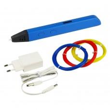 3D ручка с LED дисплеем D6/RP800A 5В/2А, сопло 0.6 мм, темп. 130-230 гр С, контроль скорости, ABS/PLA 1.75 мм синяя
