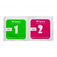 Салфетки для поклейки защитного стекла комплект 2 шт, влажная 3.50 х 3.50 см, сухая 3.50 х 3.50 см (300 комплектов/ 1 уп.)