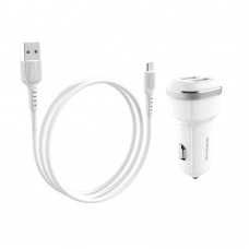 Автомобильное зарядное устройство Borofone BZ13 2 USB 2.4A Micro белое