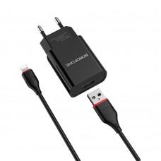 Сетевое зарядное устройство  Borofone  BA20A 1 USB 2.1A Lightning чёрное
