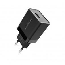 Сетевое зарядное устройство  Borofone  BA17A 1 USB 18W/3A QC3.0 чёрное