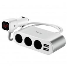 Автомобильное зарядное устройство  Hoco  Z13 2 USB разветвитель прикуривателя серебристое