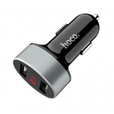 Автомобильное зарядное устройство  Hoco  Z26 2 USB 2.1A с дисплеем чёрное
