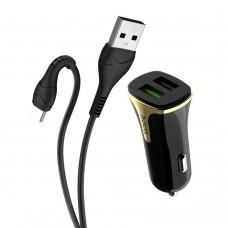 Автомобильное зарядное устройство  Hoco  Z31 2 USB 3.4A Type-C чёрное