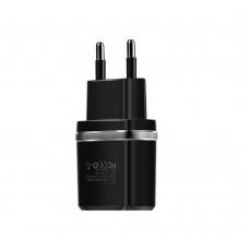 Сетевое зарядное устройство  Hoco  C12 2 USB 2.4A чёрное
