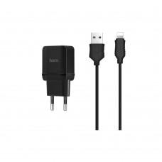 Сетевое зарядное устройство  Hoco  C22A 1 USB 2.4A Lightning чёрное