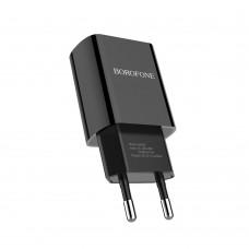 Сетевое зарядное устройство  Borofone  BA20A 1 USB 2.1A чёрное