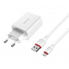 Сетевое зарядное устройство  Borofone  BA21A 1 USB QC3.0 Micro белое