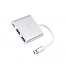 USB Hub  Hoco  HB14 Type-C to USB3.0+HDMI+PD серебристый