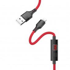 USB кабель  Hoco  S13 Lightning 1,2m 2.4A с таймером красный
