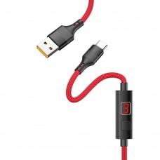 USB кабель  Hoco  S13 1,2m 2.4A Type-C с таймером красный