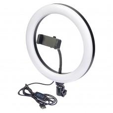 """Кольцевая LED лампа    F-260 с держателем для телефона и металлическим корпусом 10"""" 26см"""