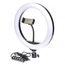 """Кольцевая LED лампа    RGB с держателем для телефона 10"""" 26см"""