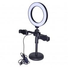 Кольцевая LED лампа с настольным штативом    M02 с держателем для телефона