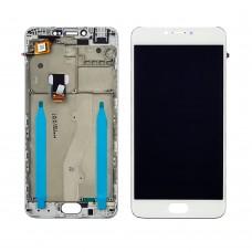 Дисплей  для MEIZU  M3 Note (model L681H) с белым тачскрином и корпусной рамкой