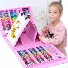 Набор для рисования в чемоданчике с мольбертом 208 предметов (Розовый)