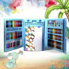 Набор для рисования в чемоданчике с мольбертом 208 предметов (Голубой)